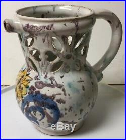 Early Antique Novelty Pottery Faience Puzzle Jug / Pitcher Drinking Vessel