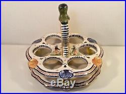Egg Holder Basket Antique Rare Handled Egg Basket French Faience Quimper, ff702