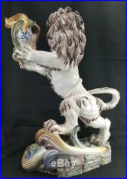 Exceptional St Clement Antique French Faience Lion Candle Holder 25.5