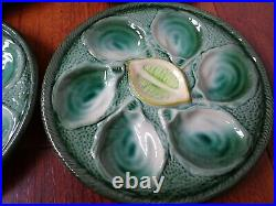 FOUR FRENCH PLATES OYSTER LEMON FAIENCE MAJOLICA ST CLEMENT pattern 4589