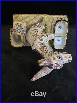 FOURMAINTRAUX FRERES DESVRES DONKEY Antique MASTER SALT French Faience c1885