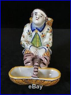 FOURMAINTRAUX Seated Man Salt Antique French DESVRES Faience c1905 Rare