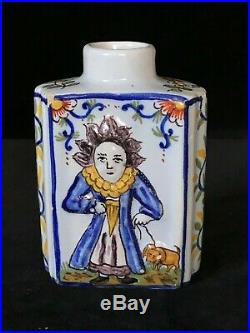 FOURMAINTRAUX TEA CADDY Antique French DESVRES Faience c1905 Rare & Whimsical