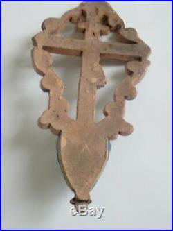 Faience De Rouen 18 Eme Bénitier Crucifix Christ Antique French Water Font Stoup