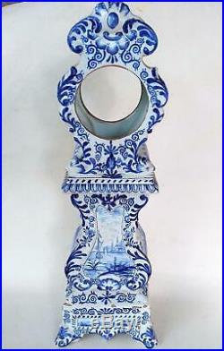 Faience Delft Antique Clock Case Hand Painted