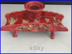 Faience Majolica Inkwell French Pen Stand Monkeys on Penny Farthing Bicycle
