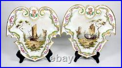 Fine Antique French Faience Lille 1767 Armorial Nautical Dishes / Plaques