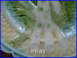 Fives Vintage French Plates Asparagus Faience Majolica