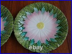 Four Antique French Plate Faience Majolica Sunflower
