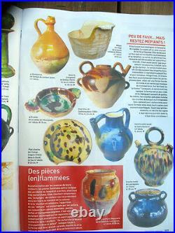 French Antique Art Pottery Pot Confit Faience Green Glaze Cruche Jug Ceramic