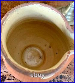 French Antique Art Pottery Redware Earthenware Faience Milk Polka Dot Pitcher