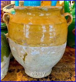 French Antique Art Pottery Yellow Glaze Planter Faience Earthenware Confit Pot