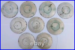 French Antique Barbotine, Majolica Plates, Onnaing Faience, 19th Century