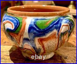 French Antique Confit Jaspe Art Pottery Faience Jar Pot Faience Earthenware
