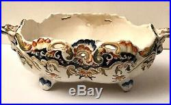French Antique Desvres Rouen Handled Porcelain Bowl Reticulated Faience Pottery