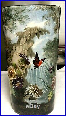 French Antique Faience Forest & Butterfly Exotic Artist Signed Oval Large Vase