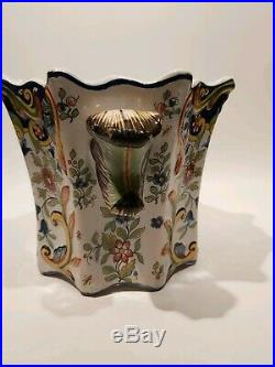 French Antique Faience/Majolica Large Square Planter Fourmaintraux Desvres