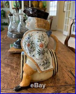 French Antique Faience Pottery Pot George Martel Desvres Lille Style Toby Jug