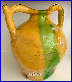 French Antique Glaze Green Pottery Earthenware Pot Confit Faience Pitcher Cruche