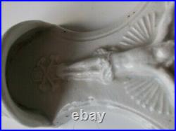 French Antique Holy Water Font White Faience of Moustiers skull & bones RARE