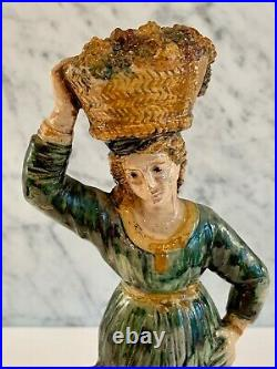 French Antique Lady Grape Basket Figure Faience Majolica 19thC