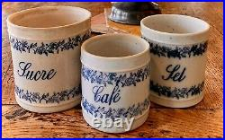 French Antique Pot 3 Canisters Confit French Faience Spatterware Jar Pottery