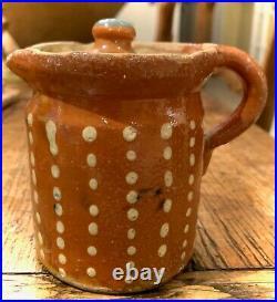 French Antique Pot Confit Faience Pottery 2 Polka Dot Savoie Creamer Pitchers