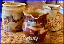 French Antique Pot Confit Faience Pottery Group Of Three Earthenware Petits