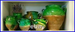 French Antique Pot Confit Pottery Earthenware Ewer Vessel Faience Flask Pitcher