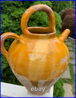 French Antique Pot Confit Pottery Earthenware Faience Wine Ewer Cruche Vessel