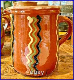 French Antique Pottery Earthenware Faience Confit Jaspe Pot Glaze Vessel Pitcher