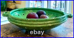 French Antique Pottery Terracotta Confit Earthenware Drainer Faience Colander