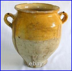 French Antique Pottery Terracotta Faience Earthenware Pot A Confit Glazed