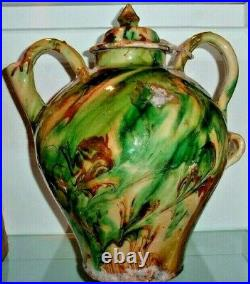 French Antique Pottery Yellow Vessel Faience Pitcher Earthenware Pot A Confit