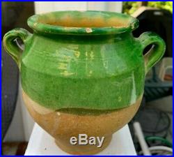 French Antique Terra Cotta Pottery Green Glazed Faience Pot A Confit