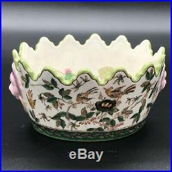 French Antique Vintage Majolica Faience Jardiniere Planter Centerpiece Pot