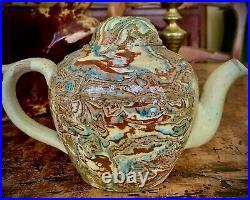 French Confit Antique Faience Pottery Teapot Jaspe Glaze Apt Uzes Pichon