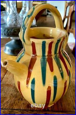 French Confit Antique Pottery Pot Faience Earthenware Spatterware Glazed Cruche