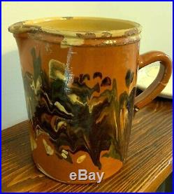 French Earthenware Antique Pottery Jaspe Confit Faience Ironstone Pitcher