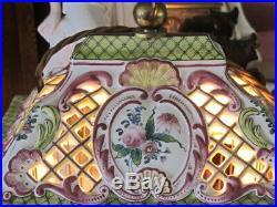 French Faience Birdcage Lamp Ceramic Handpainted Earl of Shrewsbury Provenance
