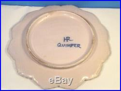 French Faience Covered Cheese Butter Dish Antique Quimper Covered Dish