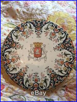 French Faience Handpainted Armorial Wall Charger Plate Rouan Vannes 14 Cheese