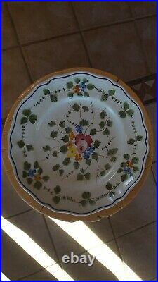 French Faience Longchamps Moustiers Antique Hand-Painted Pottery Plate