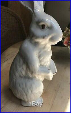French Faience Rabbit White Standing Rabbit Bunny 12.5 In Tall Not Bavent
