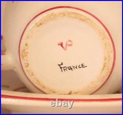 French Faience Veuve Perrin Seau A Bouteille Tea Cup And Saucer Vp Antique