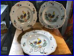 French Handpainted Faience Rooster Plates Set of Three c. 1892 by Keller & Guiren