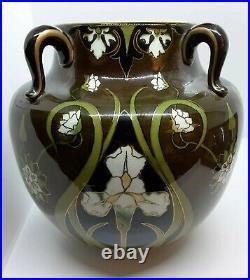 French Keller & Guerin Iris Vase, Antique Faience Art Nouveau Luneville