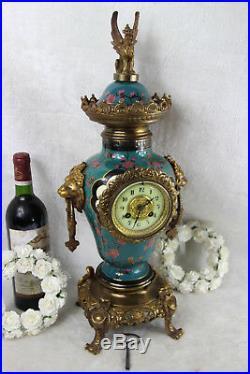 French antique Clock faience Polychrome bird dragon chimaera top lion heads