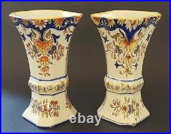 French faience vintage Victorian antique pair of vases