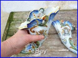 French majolica faience de Devres Rouen pair of wall vases Abundance cornucopia